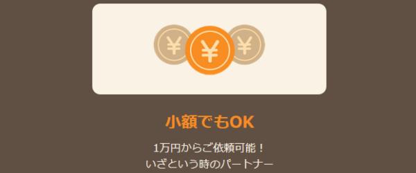 1万円からの少額でも利用可能