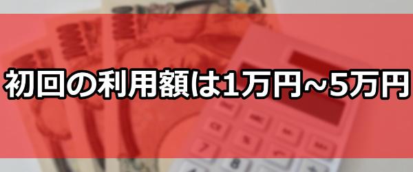 初回の利用額は1万円~5万円